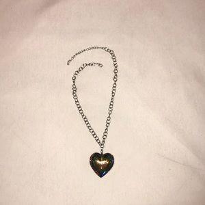 chunky rainbow heart necklace.